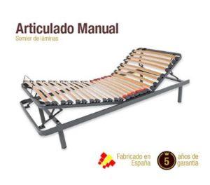 Cama articulada o ajustable con sistema manual y flexibilidad básica a muy buen precio.
